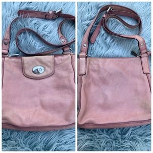 Fossil pink Leather Double Pocket Crossbody Bag
